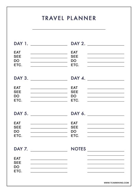 printable trip planner free printable 7 day travel planner use to plan outfits