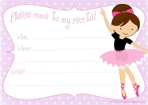 free printable party invitations printable dance recital