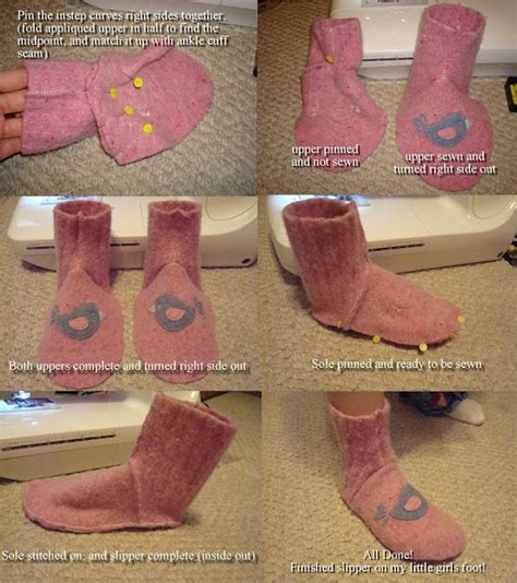 felt sock whim wham craft wool felt sweater slipper sock tutorial and pattern your craft