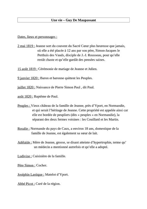 """Calaméo - Résumé du roman """"Une vie"""" de Guy de Maupassant"""