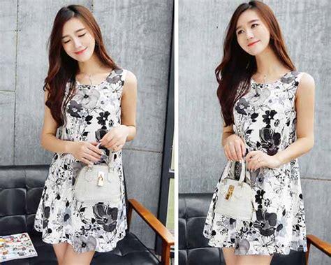 Pw6083 Mini Dress Motif Bunga mini dress motif bunga lengan buntung model terbaru