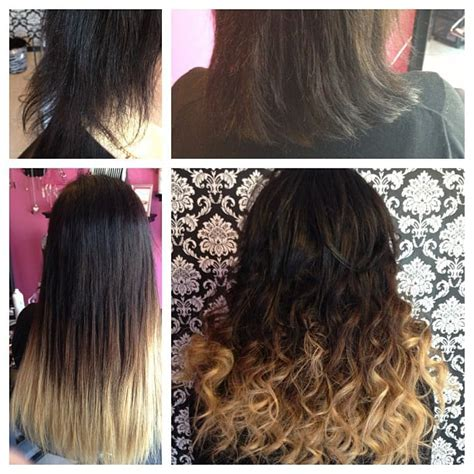 18 inch hair extensions before and after before and after with an ombre in 18 inches with micro