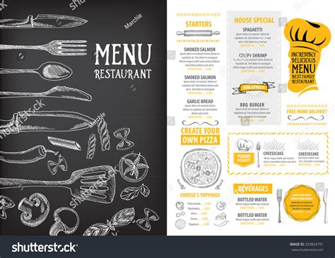 design menu cafe vector restaurant cafe menu template design food stock vector