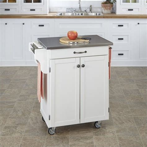 white kitchen cart with stainless steel top 9001 0022