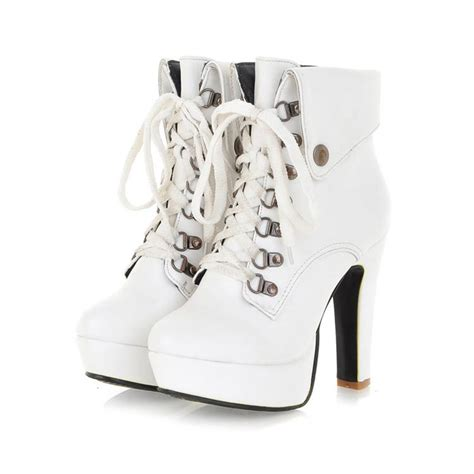 winter toe stiletto high heel lace up ankle white
