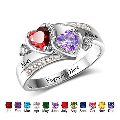 personalized simulated birthstones promise rings for