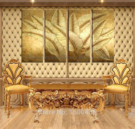 4 piece frameless colourful leaf trees canvas painting hand painted modern picture still life oil painting canvas