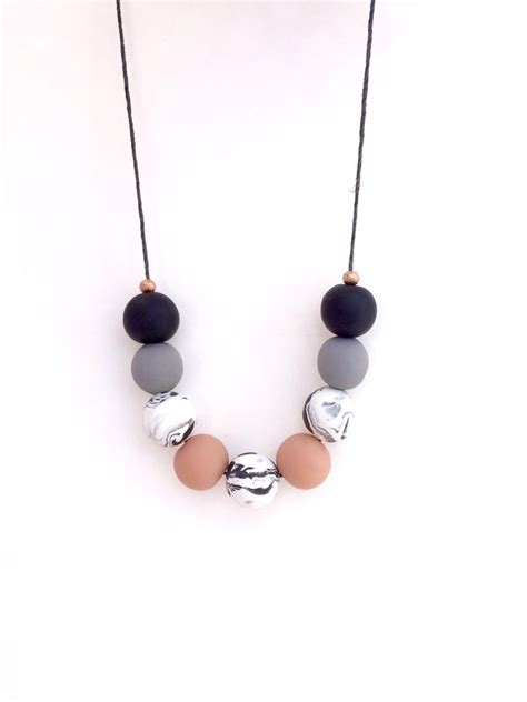 clay bead jewelry polymer clay necklace beaded necklace statement necklace