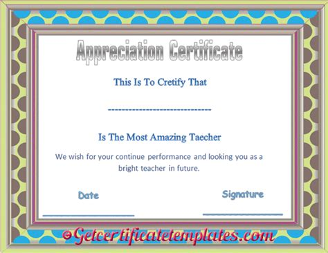 certificate of appreciation for teachers template editable certificate of appreciation template
