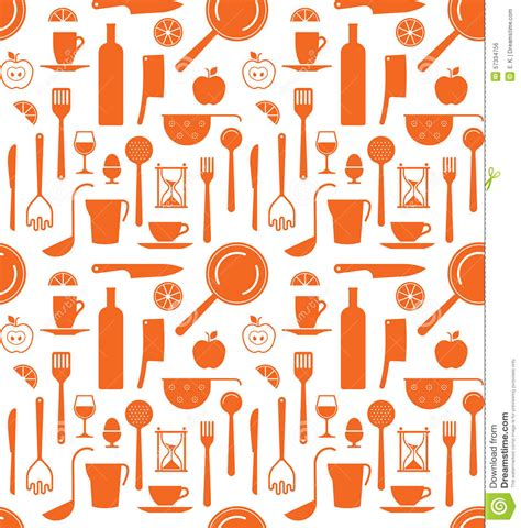 Free Kitchen Design Tool background with kitchen utensils silhouettes stock vector
