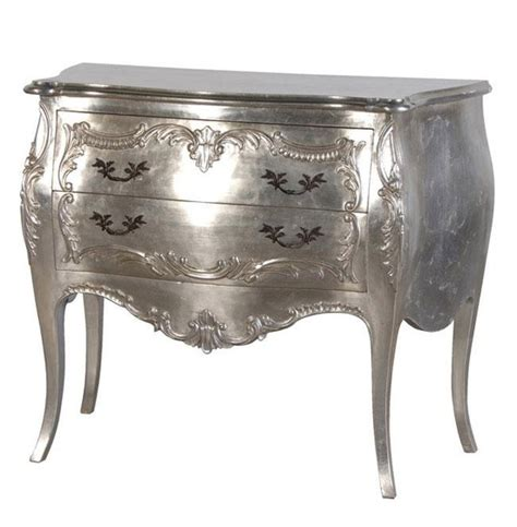 Silver Leaf Furniture by Bombe Chest In Silver Leaf