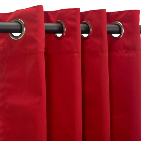 red outdoor curtains grommeted canvas jockey red sunbrella outdoor curtains
