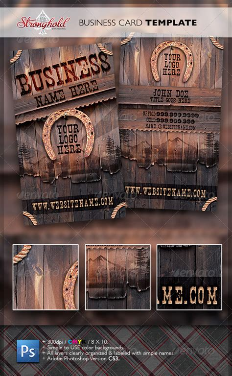western business card templates free vintage western wood card template graphicriver