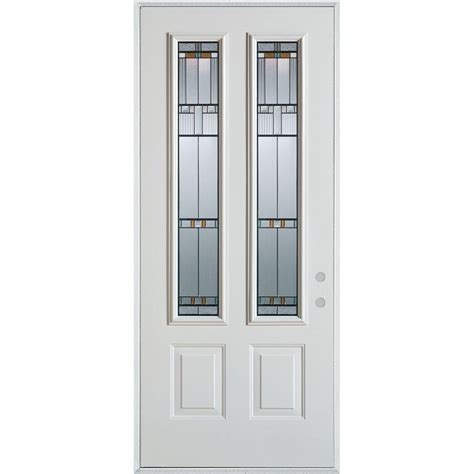 32 Exterior Door With Window Stanley Doors 32 In X 80 In Architectural 2 Lite 2 Panel Painted White Steel Prehung Front
