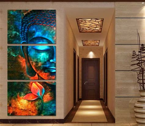 paintings home decor framed 3pcs abstract blue buddha modern home decor canvas