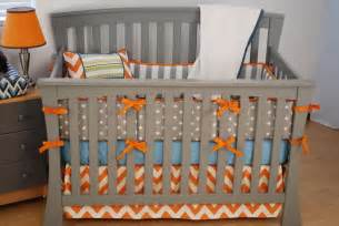 Orange And Turquoise Crib Bedding Orange Chevron Crib Bedding With Grey And Aqua Fabrics Orange In The Nursery
