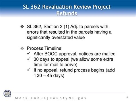 section 8 appeal process ppt sl 362 project update refunds and discoveries