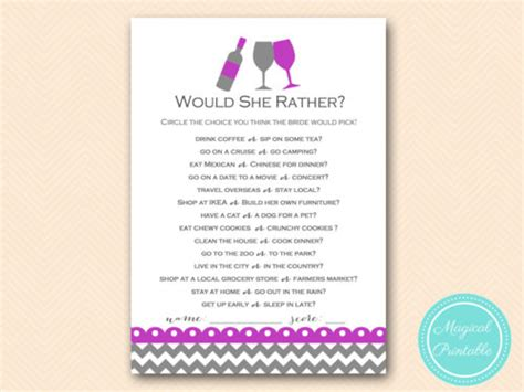Purple Wine Theme Bridal Shower Games Magical Printable Would They Rather Bridal Shower Template