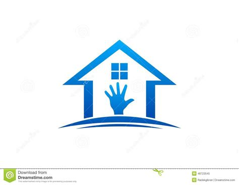 house interior vector house and hand logo home work interior and exterior home care furniture design vector