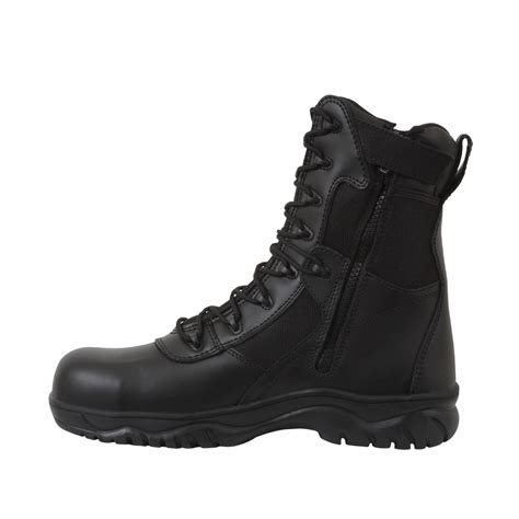 security boots security guard officer side zipper black leather patrol