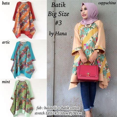 jual long batik big size blouse atasan wanita batik big