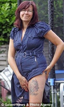 thigh tattoo cost uk widow sharon britt has koi carp tattoo drawn onto leg