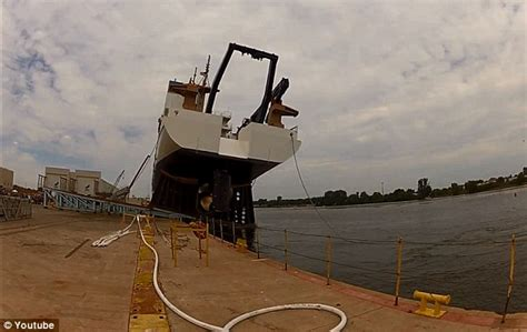 boat mooring fails dramatic video captures ship launch going horribly wrong