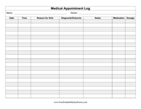 appointment tracker template printable health appointment record