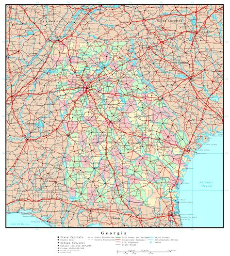 us map with cities and major highways large administrative map of georgia state with roads