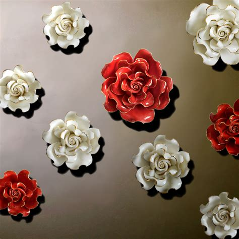 Ceramic Wall Flower Decor by European Style Three Dimensional Wall Flowers Ceramic