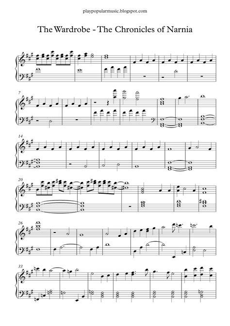 Free piano sheet music: The Wardrobe - The Chronicles Of