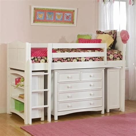low bunk beds for kids cottage low loft white traditional beds by hayneedle