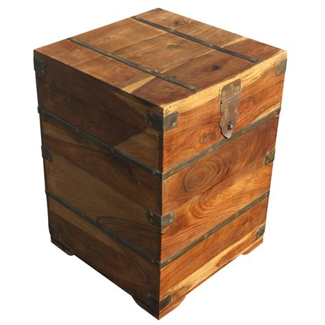 vintage industrial wood storage box side table ebay