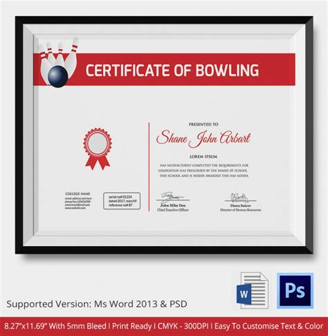 Bowling Certificate Template by 5 Bowling Certificates Psd Word Designs Design