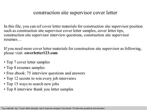 Cover Letter For Construction Supervisor Construction Site Supervisor Cover Letter
