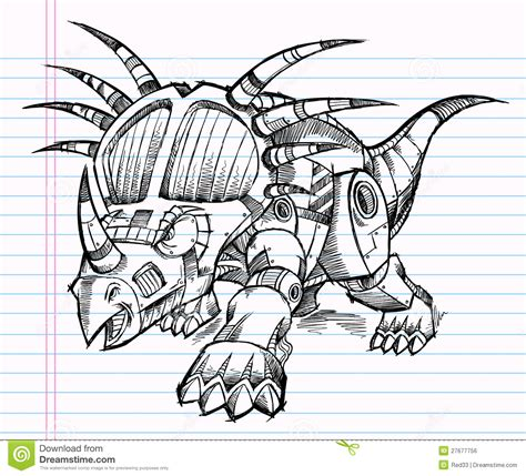 dinosaur robot coloring page robot triceratops dinosaur sketch stock vector image
