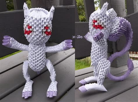Origami Mewtwo - 3d origami mewtwo awakened form by jobe3do on deviantart