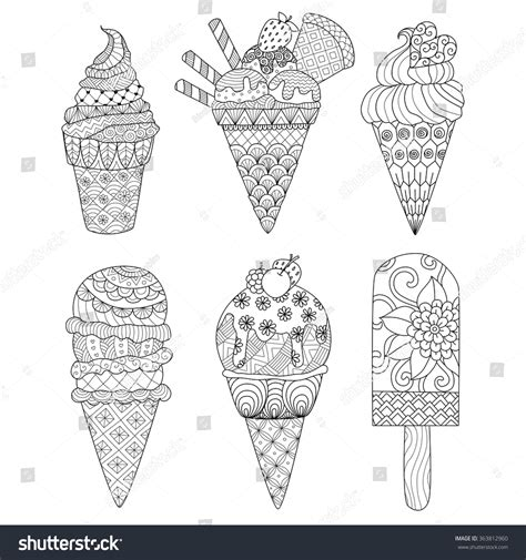 zentangle ice cream coloring book decorations stock vector
