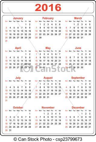 kalendarz 2016 do wydruku ilustracje wektorowe prosty kalendarz 2016 prosty