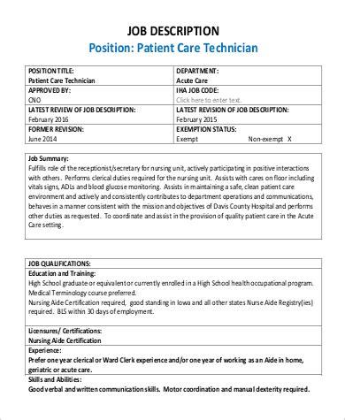 Patient Care Technician Duties by Patient Care Technician Description Sle 9 Exles In Pdf