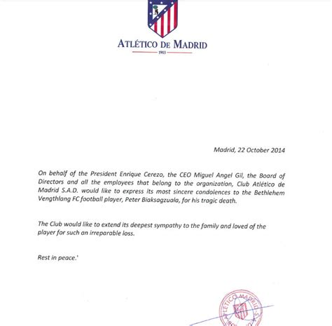 Release Letter For Player atletico madrid write condolatory letter to deceased indian footballer biaksangzuala