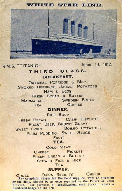 titanic third class menu what titanic menus looked like for 1st 2nd 3rd class
