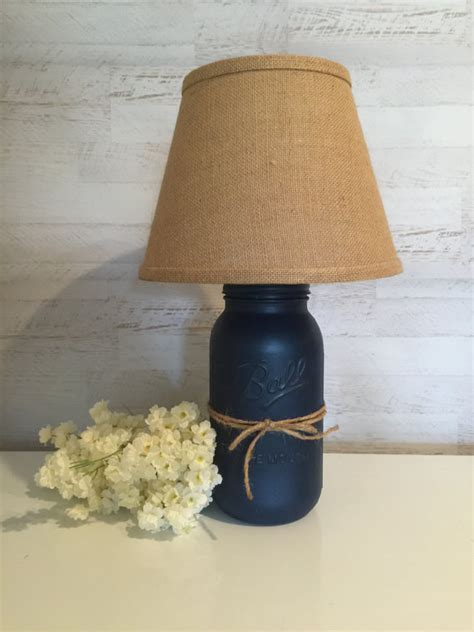 mason jar l shade mason jar l distressed in navy blue w burlap shade