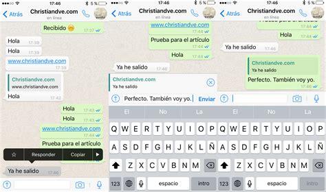 imagenes para whatsapp iphone whatsapp c 243 mo responder y citar mensajes concretos en