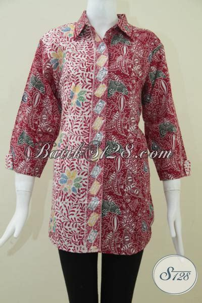 Baju Untuk Imlek baju batik warna merah untuk perayaan imlek blus batik elegan dan trendy bls937ct xl toko