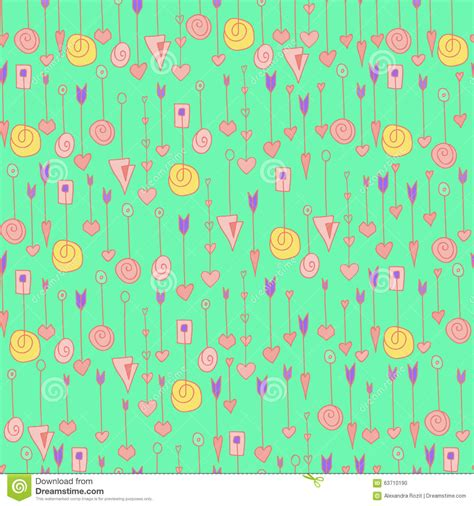 hand drawn arrows removable wallpaper heart arrows pattern stock vector image 63710190