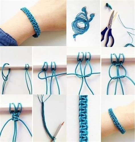 How To Make Macrame Bracelets Step By Step - how to diy weave a macrame bracelet from earphones