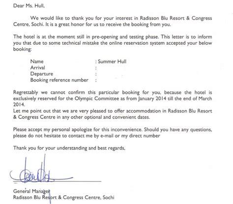 Hotel Reservation Cancellation Letter Sle