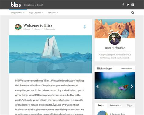 bliss wordpress blog template themeshaker com