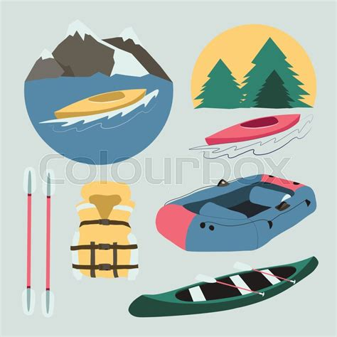 boat trip icon rafting and kayaking icons collection rafting equipment